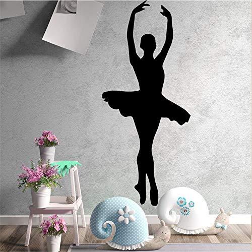 Preisvergleich Produktbild yiyiyaya Beauty Dancing Girls PVC Wandtattoos Wohnkultur Für mädchen Zimmer Wandaufkleber Ballett wasserdichte Tapete grau XL 43 cm X 100 cm