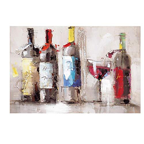Lcgbw romantische rode wijn beker dansen olieverfschilderij druk op canvas poster moderne foto keuken decoratie wandafbeelding voor de woonkamer 40x80cm Canvas + frame