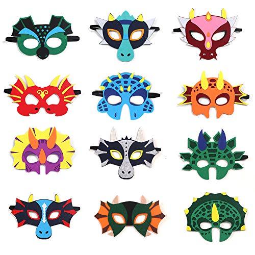 Haocoo 12 Stücke Party Masken, Drachen Dinosaurier Masken für Kinderparty, Tier Augenmaske Filz Masken mit Elastischen Seil für Cosplay Geburtstag Festival Maskerade Schulaktivität