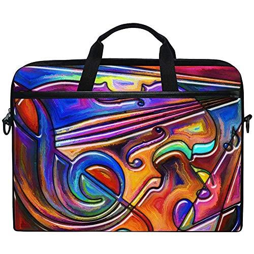 Rainbow Color Music Note \U0026 Gitarre Bunte Laptop Tasche Tasche Hülle Tragbar/Crossbody Messenger Aktentasche Cabrio Mit Gurttasche Für MacBook Air/Pro Oberfläche Dell Asus Hp Lenovo,14-14,5 Zoll