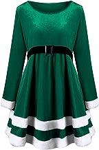 iTLOTL Christmas Fashion Womens Merry Christmas Velvet Long Sleeve O-Neck Red Festival Dress