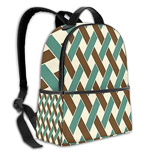 fepeng Mochila duradera línea geométrica colegio colegio bolso muchacha hombres y mujeres mochila de viaje, Negro, Talla única