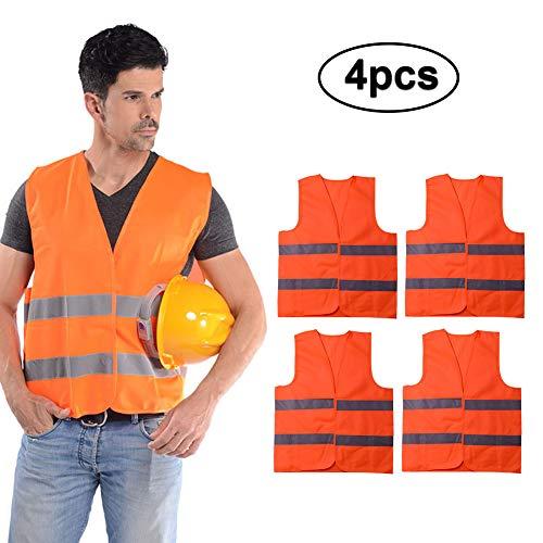 PoeHXtyy 4PCS / 10PCS Chaleco reflectante de seguridad Chaleco de construcción brillante con astilla Tira, transpirable y chaleco de tela de malla para trabajar al aire libre