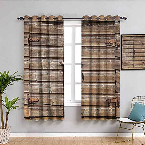 Cortina rústica de madera envejecida con candado abandonado vintage casa rural pueblo foto de baño cortina marrón 84 x 84 pulgadas