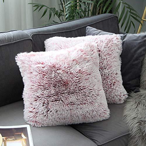 Uhomy 2 Packs Home Decorative Luxury Series Super Soft Plush Faux Fur Throw Pillow Cover Cushion...