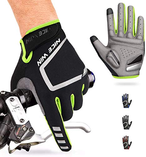 NICEWIN Cycling Gloves Motorcycle Bike Mountain- Road Bicycle Men Women Padded Antiskid Touch Screen Yellow S