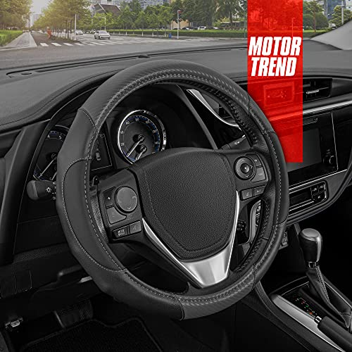 Motor Trend GripDrive Faux Leather Steering Wheel Cover with Gray Carbon Fiber Accent – Universal...