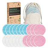 Abschminkpads Waschbare,20 Wiederverwendbare Wattepads|Gesichtsreinigungspads aus Bambus &...