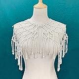 Cadena de hombro Chal Vintage Perla borla vestido chal accesorios perla grande collar mujer perla cadena hombro joyería (longitud: 50 cm, color de la piedra principal: blanco)