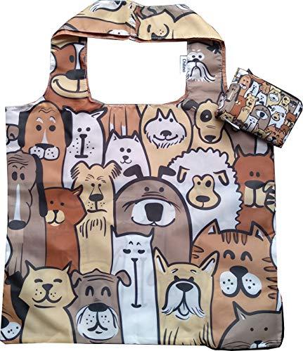 Chilino 230 Doggies faltbare Einkaufstasche, groß und stabil, umweltfreundlich, Polyester, beige/braun