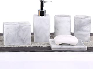 Resin 5pcs Bathroom Accessory Set - Tumbler, Soap Dish, Liquid Soap Dispenser, Toothbrush Holder,Grey