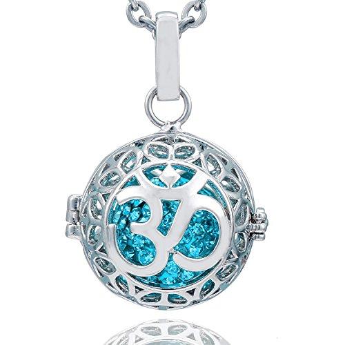 Morella Damen Schutzengel Halskette Edelstahl 70 cm mit Anhänger Om Mantra und Klangkugel Zirkonia türkis Ø 16 mm in Schmuckbeutel
