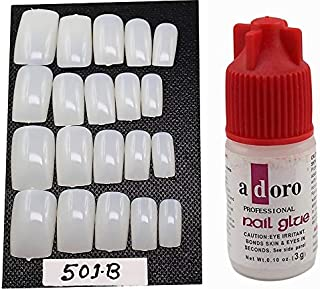 Ear Lobe & Accessories 20 Pieces Personal Professional Reusable False French Nails with Glue (501B)