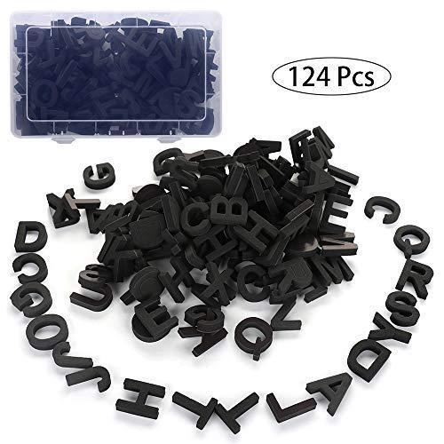 Jycra Magnetische Buchstaben, Schaumstoff-Alphabet, Kühlschrank-Magnete, das beste pädagogische Spielzeug für Vorschul-Lernen, Rechtschreibung, 124 Stück 3.5X0.9cm Schwarz