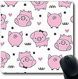 Mousepads Rosa entzückende Muster-Schwein-Natur-Baby-Geburtstags-Bezaubernde Entwurfs-Überlange Form-rutschfeste Spiel-Mausunterlage Gummilangmatte, Gummimatte 11,8'x 9,8' , 3mm Stärke