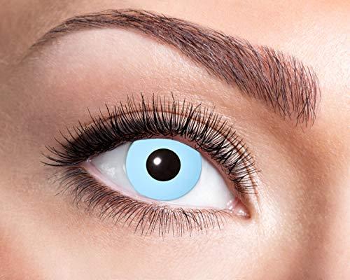 Eyecatcher - Farbige Kontaktlinsen, Farblinsen, Wochenlinsen, 2 Stück, Halloween, Karneval, Fasching, Eisblau, blau