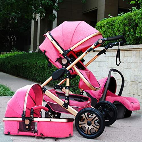 3 in 1 Pieghevole Carrozzina Passeggino Travel System Carrozzina, Compatto Convertibile del Carrello del Jogger Passeggino, Cintura A 5 Punti E di Memorizzazione Basket (Color : Pink)