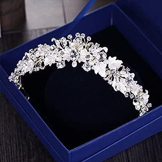 KathShop Vintage Gold Rhinestone Pearl Flower Bridal Crowns Handmade Tiara Headband Crystal Diadem Crown Wedding Hair Accessories