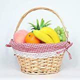 MEIEM Natural Round Willow Handwoven Easter Basket with Linen Liners (Natural)