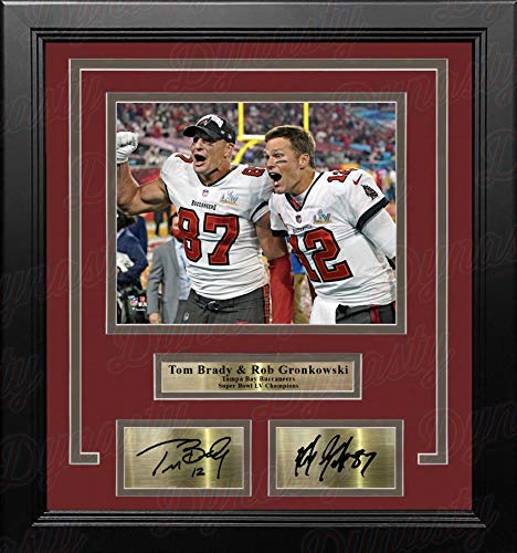 Tom Brady & Rob Gronkowski Tampa Bay Buccaneers 8' x 10' Framed Football Championship Photo with Engraved Autographs