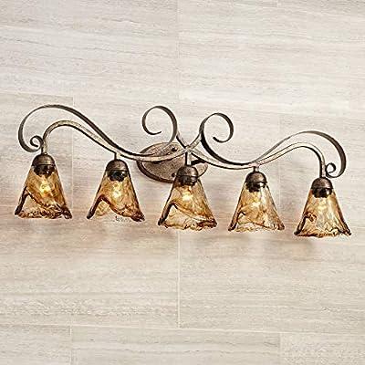 "Amber Scroll Wall Light Bronze 37 1/4"" Art Glass Fixture for Bathroom Over Mirror Bedroom - Franklin Iron Works"