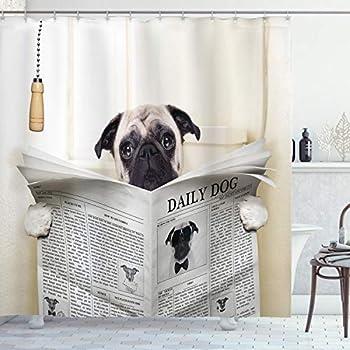 Ambesonne Pug Shower Curtain Puppy Reading The Newspaper on The Toilet Bathroom Funny Image Pug Joke Print Cloth Fabric Bathroom Decor Set with Hooks 84  Long Extra Cream Black