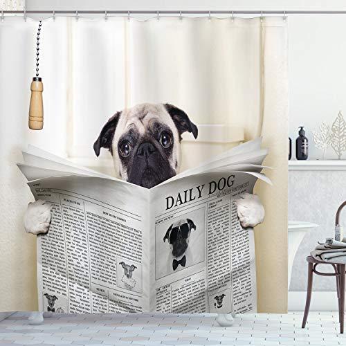 ABAKUHAUS Mops Duschvorhang, Welpe liest Zeitung, mit 12 Ringe Set Wasserdicht Stielvoll Modern Farbfest & Schimmel Resistent, 175x200 cm, Weiß Schwarz Creme