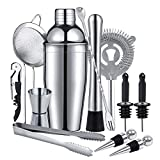 Cocktail Making Set 750ml Stainless Steel Cocktail Shaker Set 12 PCS Bartender Kit Cocktail Accessories Cocktail Mixing Set for Home Bar with Jigger Strainer Pourers Bar Spoon