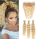 Zara Hair Blonde Water Wave Hair Bundles with Frontal Lace Closure #613 Bleach Blonde Wet and Wavy Curly Peruvian Human Hair Weave 3 Bundles with 13X4 Free Part Frontal Ear to Ear (16 with 16 18 20)