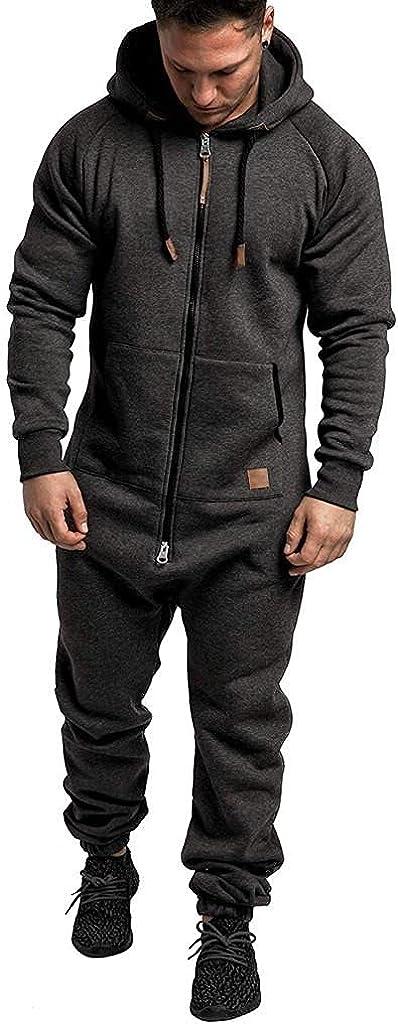 KEEYO Christmas Onesie Men's Hooded Jumpsuit Zip Up One Piece Pajamas Playsuits Jogger Sweatsuit Overall Romper