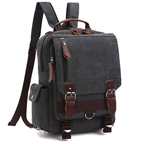 School Backpack, Lifestyle vintage Travel Rucksack for Men & Women, Lightweight College Back Pack with iPad Compartment Canvas Daypack Bookbag(MG-8596-1-BK)