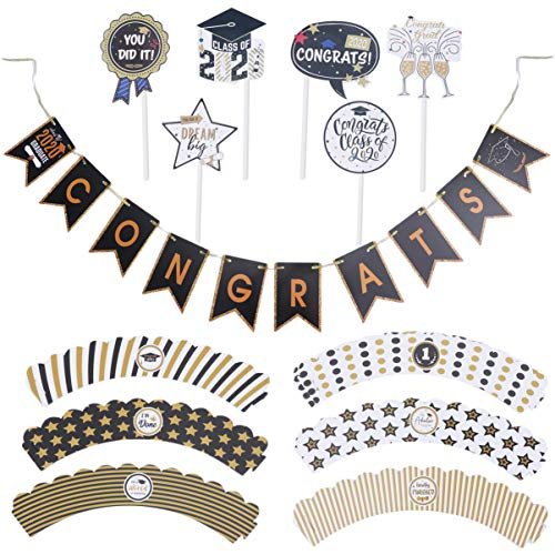 PRETYZOOM 49pcs 2020 Graduation Party Decorations Kit 2020 Afstudeerhoed Ster Taart Topper Ophangbrief Banner Congrats Grad Party Supplies