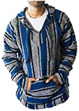 Sacred Handcrafts | Mexican Jerga Jacket | Hippie Surf Hoodie | Baja Poncho | Eco-friendly | Pullover (Large, Blue)