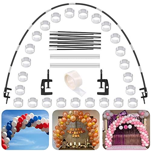 Kit de Arco de Globo Negro, Kit de Arco de Arco semicircular de Globo 2 Clips Ajustables, Arcos de Globos de Mesa para Diferentes tamaños de Mesa para Bodas de cumpleaños y Fiestas de graduación