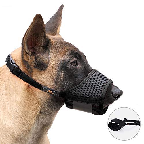 Houdao - Bozal de malla transpirable para perros grandes con nailon duradero y lazo ajustable para evitar mordeduras ladridos masticar y comer (grande, negro)