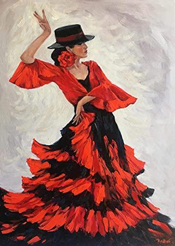 Sjawnv Peinture par Numéros pour Adulte Danseuse de Flamenco Kit de Peinture à l'huile sur Toile Bricolage pour Enfant avec pinceaux Peinture de Dessin de Pigment Acrylique 40x50cm (sans Cadre)