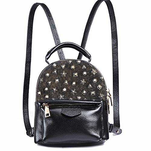 Angle-w stylish design,Simple travel, Women's new miniskirt leather lychee fashion backpack Let us go further (Color : Black, Size : 16 * 11 * 21cm)