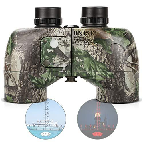 Binoculares BNISE 10 x 50 para adultos Camo Marine Jumelles BAK4 Porro Prism Power telémetro brújula incorporado con arnés correa, profesional impermeable de larga distancia para caza, Birdwathing