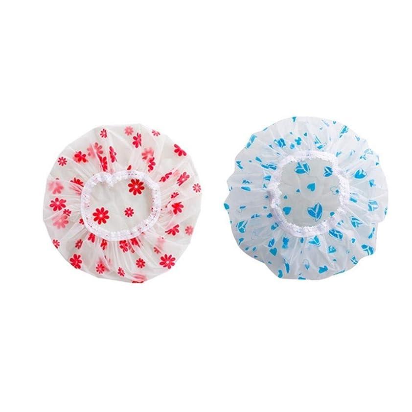 マイル回復する削るWYMAI キャップシャワー、女性はすべての髪の長さと厚さの女性のためのキャップデラックスシャワーキャップシャワー - 防水やカビ耐性、再利用可能なシャワーのキャップを。 シンプルで実用的な製品 (Color : Blue+Pink)