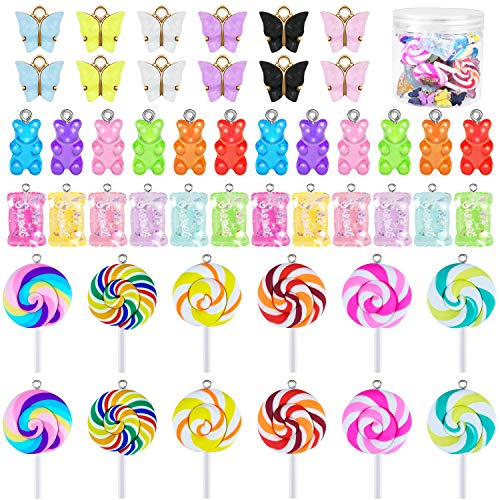 URATOT 48 Pieces Candy Charms Colorful Sweet Candy Pendant Bear Charms Polymer Clay Candy Shape Charm Butterfly Charms with a Box for Key Chain Bracelet Necklace Earrings DIY Making