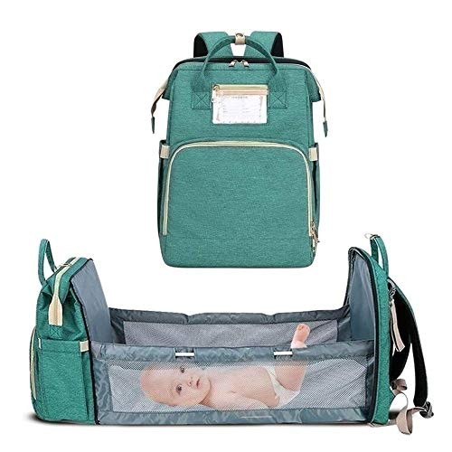 5 in 1 Baby Changing Bag, Foldable, Multifunctional, Large Capacity, Travel Backpack With Mattress for Traveling, Outdoor Camping (Color : Green)