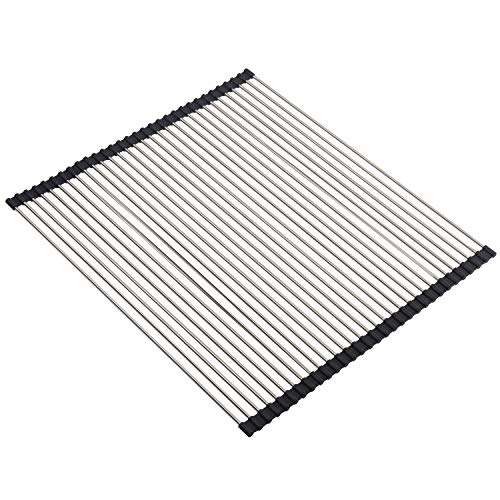 """SunCleanse 20.5""""x18.1"""" Roll Up Dish Drying Rack Over The Sink Multipurpose Kitchen Dish Drainer Stainless Steel Dish Rack"""