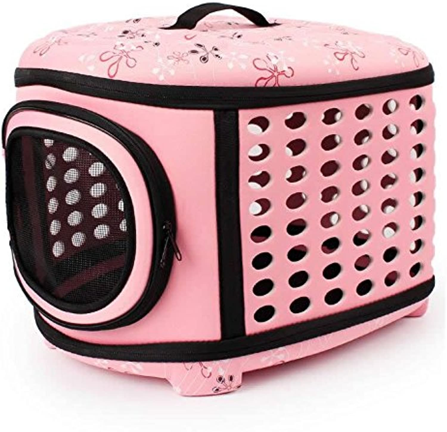 Pet Eva Dog Rabbit Cat Travel Tote Portable Handbag Folding Crate Cage Backpack Soft Carrier Kennel Breathable Outdoor Shoulder Bag[Pink] L 18.11 x13.78 x11.81