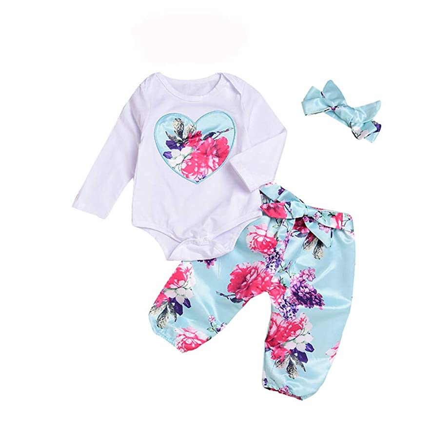 Newborn Baby Girl Clothes 3PCS Toddler Girl Suit Tops Outfits Set Bowknot Headband Top Outfit for 0-24 Months
