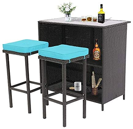 BPTD 3 Pieces Wicker Bar Table Set Outdoor Bar Set Patio Furniture Glass Bar and Two Stools with Cushions for Patios, Backyards, Porches, Gardens or Poolside (Expresso-Turquoise)