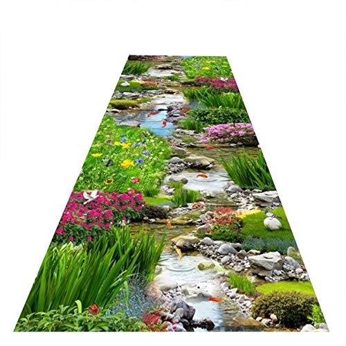 YYQIANG Alfombra de pasillo con impresión 3D, antideslizante, alfombra de entrada, lavable para cocina, longitud personalizada y duradera (color: multicolor, tamaño: 1,2 x 2 m)