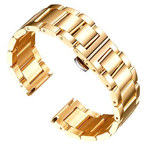 Bande de montre en acier inoxydable épaisse de montre lourd montre bracelets de montre à finisserie brossée brossée poli pour hommes Femmes 16mm / 18mm / 20mm / 21mm / 22mm / 23mm / 232mm bracelet de