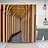 Yoliveya Wasserdichter Duschvorhang,Bögen Bologna,Drucken von Badvorhängen mit 12 Haken 180x180cm