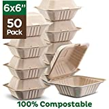 100% Compostable Clamshell Take Out Food Containers [6x6' 50-Pack] Heavy-Duty Quality to go Containers, Natural Disposable Bagasse, Eco-Friendly Biodegradable Made of Sugar Cane Fibers