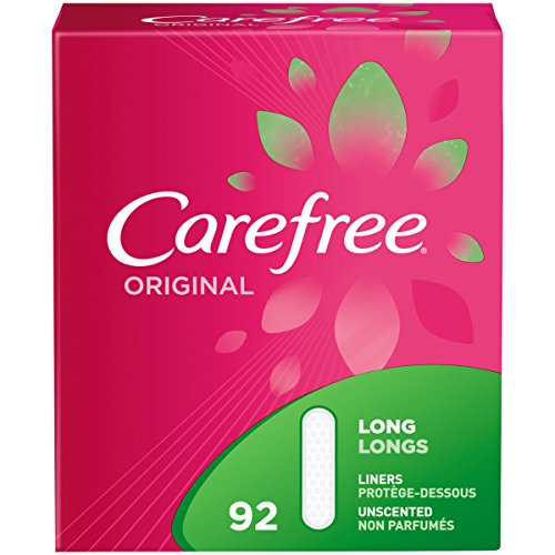 Carefree Original Thin Panty Liners, Long, Unscented, 92 Count (Pack of 1)